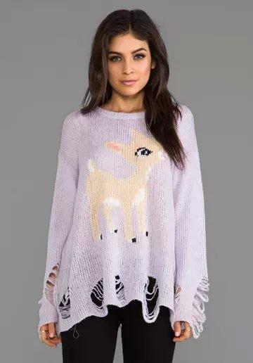 Jf26 мода женщины фиолетовый олень шаблон пуловеры трикотаж разорвал свободного покроя ...
