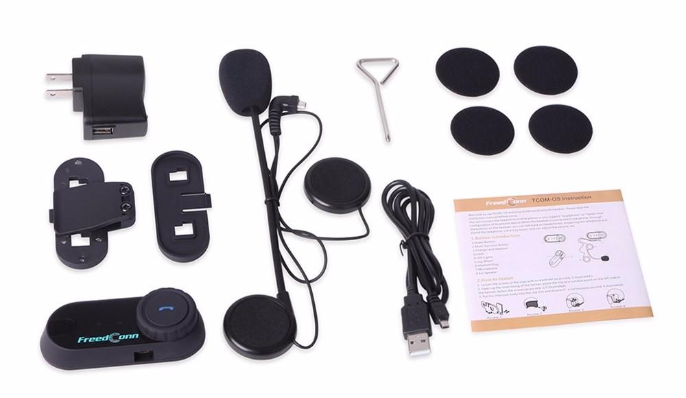 100m BT Bluetooth Motorcycle Helmet Intercom TCOM-OS Waterproof Interphone Headset Motorcycle Headphone 8 Hours Talking Time
