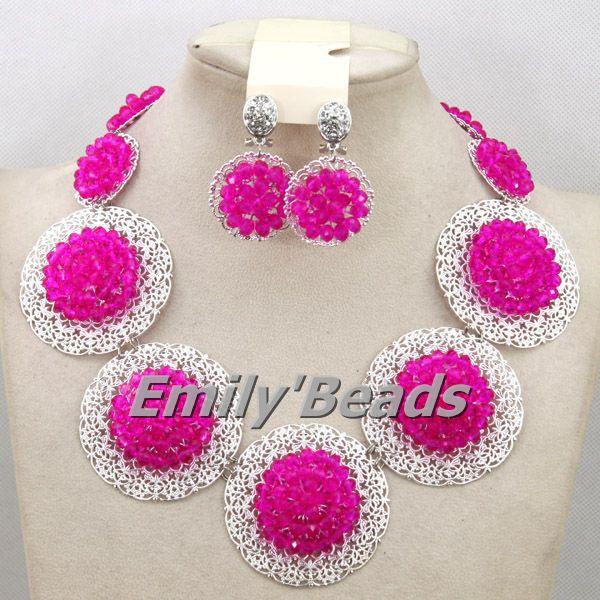 Costume African Jewelry Sets Fuchsia Pink Nigerian Wedding African Beads Jewelry Set Crystal Beads Necklace Jewelry Set AMJ092(China (Mainland))