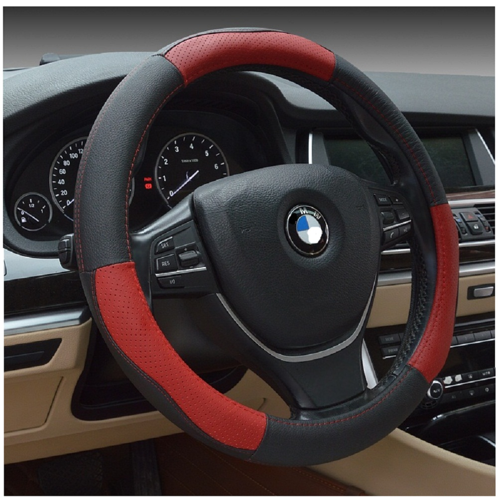 Ledaut 15inch Leather Steering Wheel Cover Automotive Steering Wheel Wrap For Car Interior