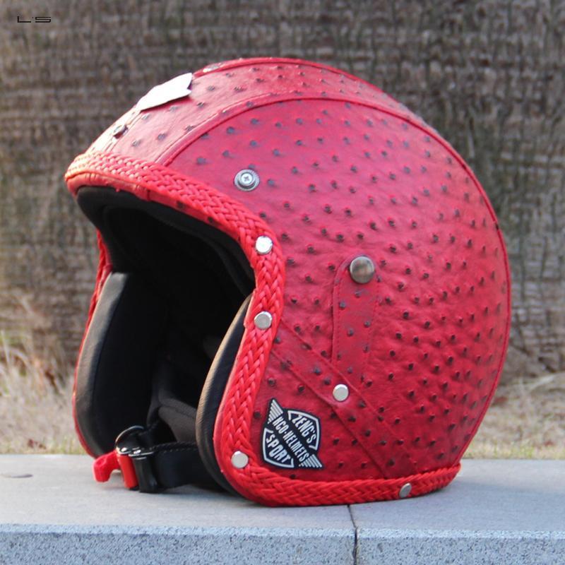 L's Retro design Motorbike Helmet Custom design Motorcycle Helmet Harley Helmet with Leather covered(China (Mainland))