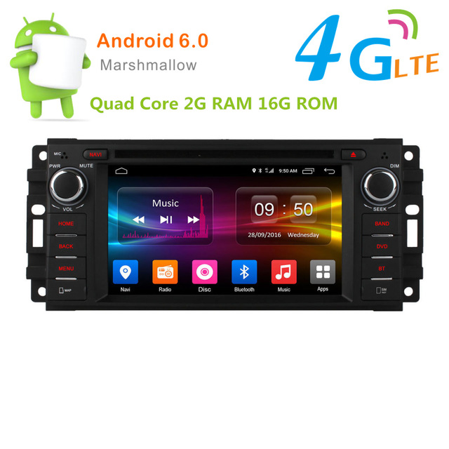 Android 6.0 Quad Core Car DVD player for Jeep grand wrangler Cherokee Commander Chrysler 300C Cirrus/DAB+/TPMS/DVR/DTV 4G LTE