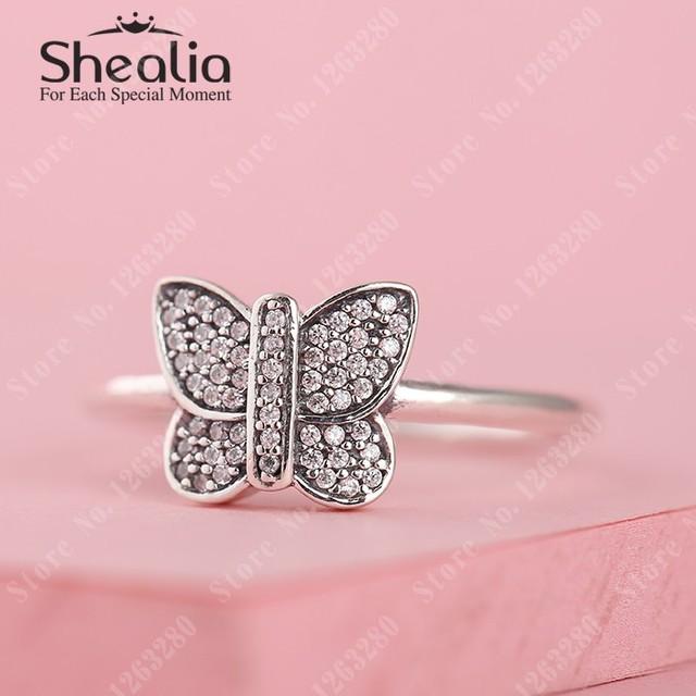Весна вымощает бабочка кольца с прозрачный CZ 925 чистое серебро животное кольца для женщины своими руками ювелирные изделия аксессуары RIP120