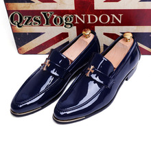 Spring/Autumn Men Dress Shoes Soft Pointed Toe Classic Fashion Business Oxford Shoes For Men Loafers Flat Patent Leather Black(China (Mainland))