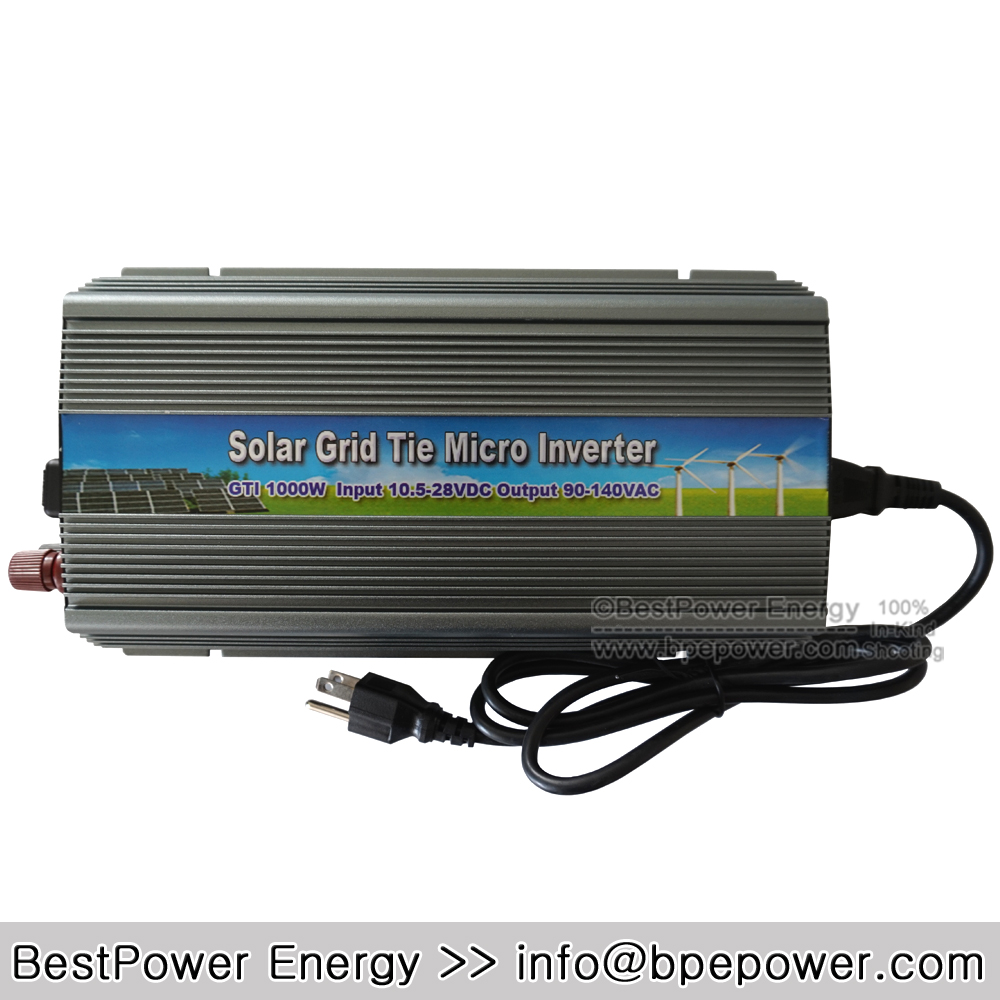 Free Shipping 10.5~28V DC to AC90~140V Pure Sine Wave Solar Inverter 1000W 1KW Solar Grid Tie Micro Inverter(China (Mainland))