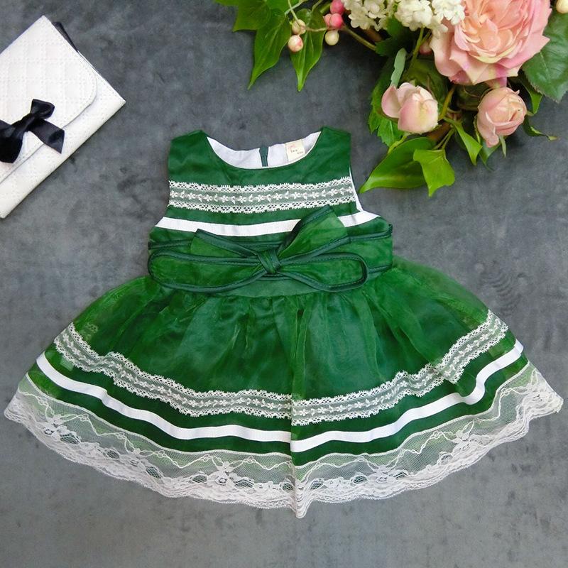 Wholesale sleeveless kid girls puffy dress qute party dress flower girls dress SIZE:6-9-12-18-24-36 2015110-5