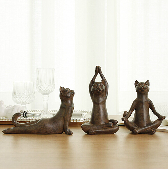 3pcs lot vintage old rusty style cat yoga figurine for Decoration maison aliexpress