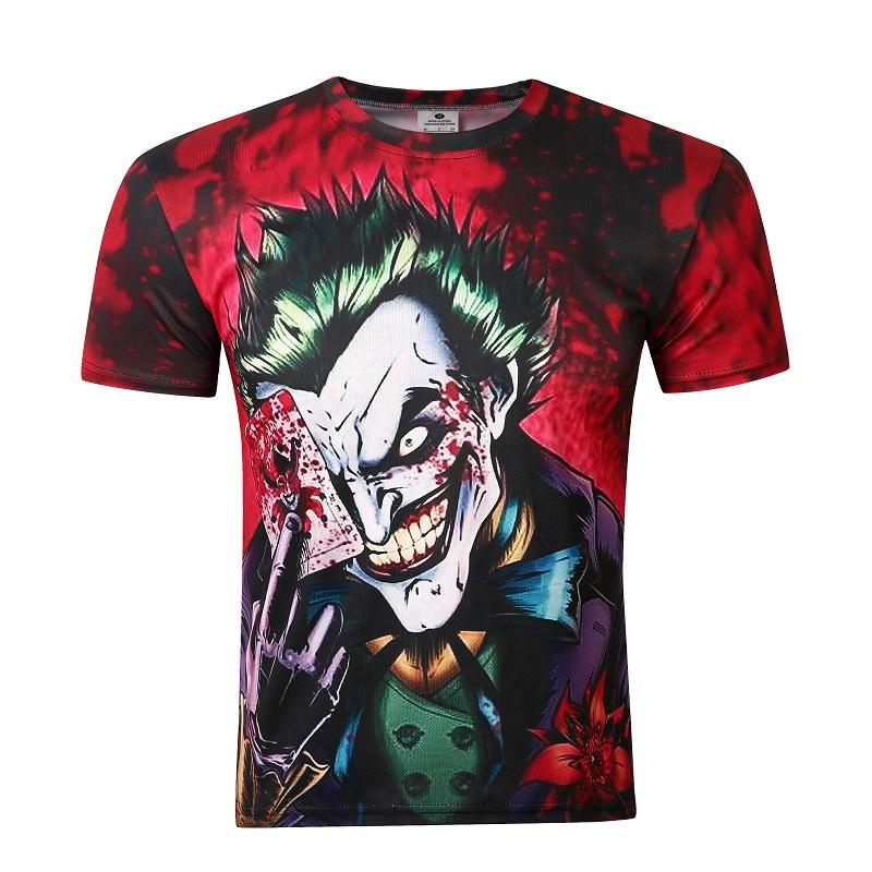 2016 new the joker 3d t shirt funny comics character joker with poker 3d t shirt summer style. Black Bedroom Furniture Sets. Home Design Ideas