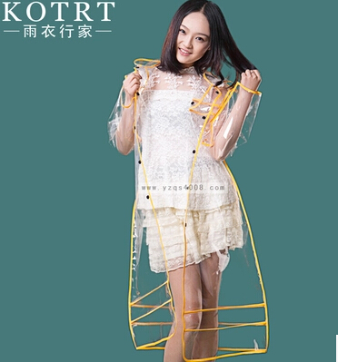 2015 fashion Rainwear 2015 New Transparent Fashion Raincoat Women Men Long EVA Rain Ponchos Outdoors Waterproof Winter Pink Blac(China (Mainland))