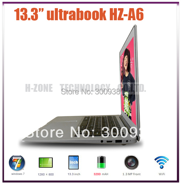 New and Cheap Notebook ultra thin laptop computer Intel D2500 1.86Ghz dual core 4GB 500GB WIFI Win 7 Webcam laptop notebook(Hong Kong)