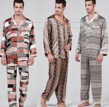Gifts Mens Silk satin Pajamas Set Pajama Pyjamas PJS Sleepwear Loungewear S M L XL Long Sleeves(China (Mainland))