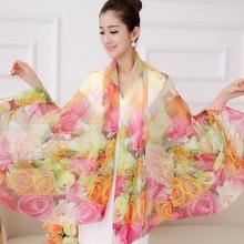 New Spring Autumn Ladies Pure Silk Scarf Winter Accessories Long Design Pink Scarves Wraps Women Digital Injket Sunshade Shawl(China (Mainland))