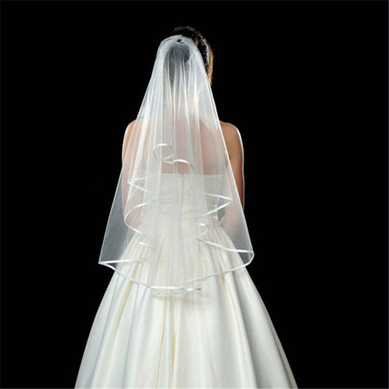 Brand New 2 Layer Wedding Bridal Elbow Satin Veil With Comb White Ivory Romantic Accessories Hot