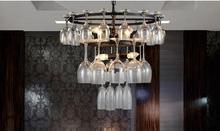 Retro cafe restaurant hall hotel bedroom iron stores decoration glass chandelier shipping(China (Mainland))