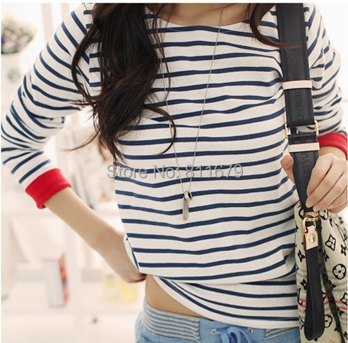 New 2015 Women's Casual O-Neck Shirt Striped Long Sleeve T Shirts Tops Women Blouses Blusas Femininas Plus Size Camisetas(China (Mainland))