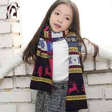 New Design Winter Children Woolen Knitting Scarf Warm Bohemia Kids Scarves Christmas Deer Lovely Girls Boys Gift Shawl 2016(China (Mainland))