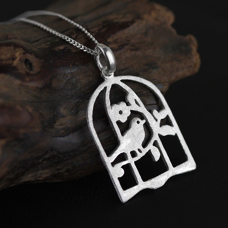 Sterling Silver Matt Brushed Lovely Birdcage Pendant Necklace A2045(China (Mainland))