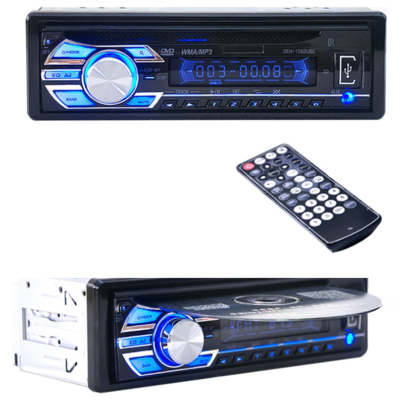 1563U FM Car Radio 12V Auto Audio Stereo Support SD MP3 Player AUX USB DVD VCD CD Player (Size: 7.28 by 6.69 by 1.97 Black<br><br>Aliexpress