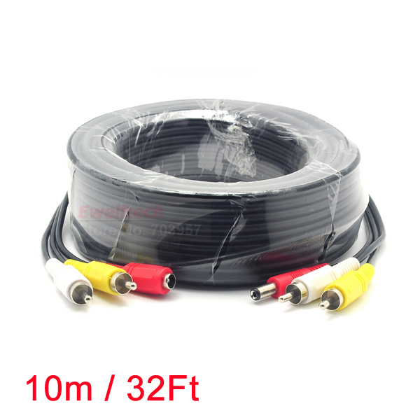 10M/32FT 2 RCA Audio Video DC Power AV Cable All-In-One Extension Line Wire For CCTV Camera DVR(Hong Kong)