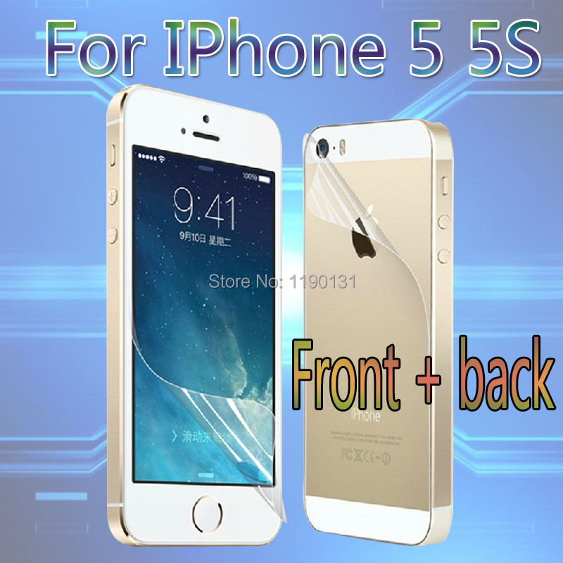 (Front + back) HD clear screen protector for iPhone 5 5S clear screen protective film screen guard with cleaning cloth for gift(China (Mainland))