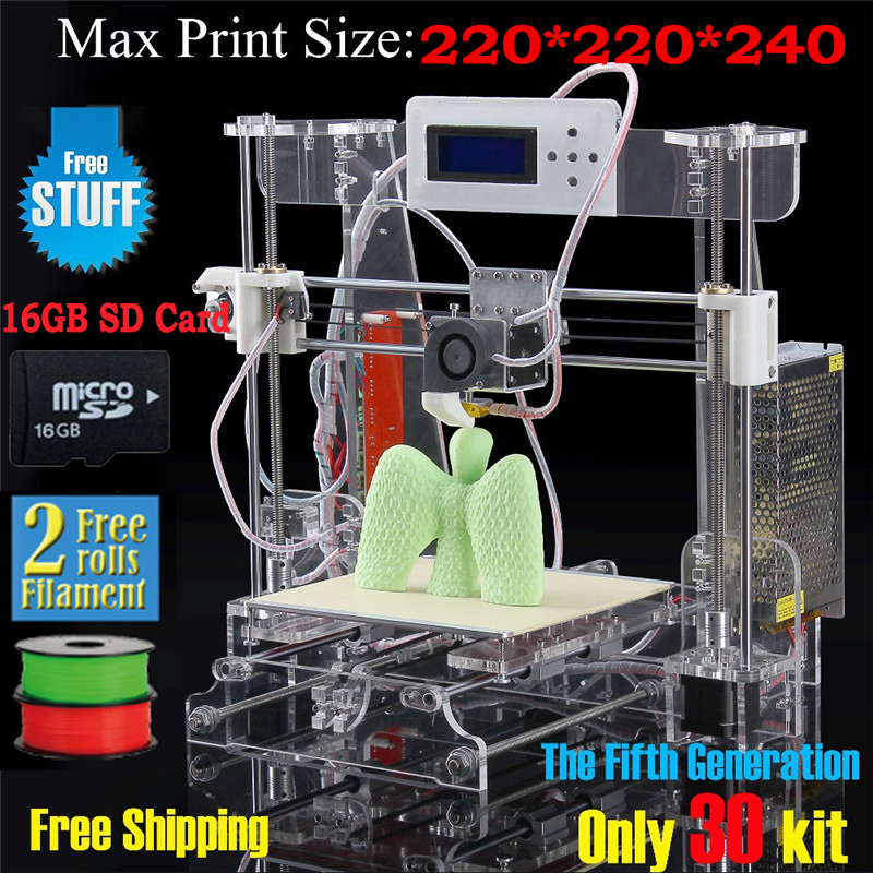 free shipping High Quality Precision Reprap Prusa i3 DIY 3d Printer kit with 2roll filament 16GB