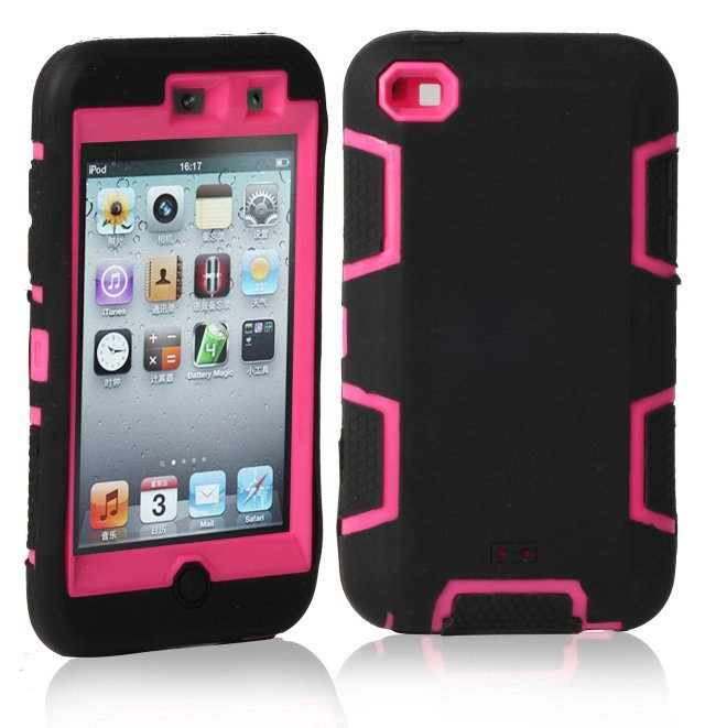 For Cover Apple iPod Touch 4 Armor Hard & Soft Hybrid Phone Case Screen Protective Film Stylus Pen Gifts(China (Mainland))