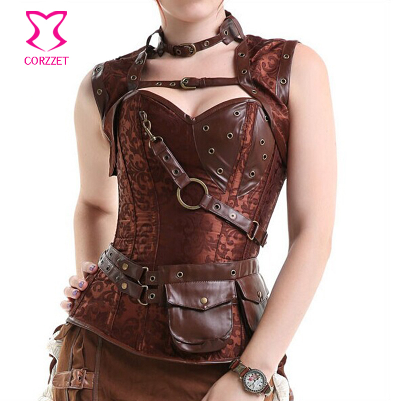 Burlesque Brown Brocede & Leather Steel Boned Waist Trainer Corset Steampunk Plus Size Corsets and Bustiers Gothic Clothing(China (Mainland))