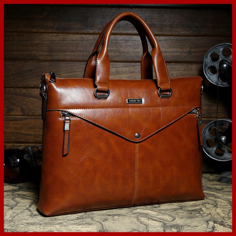 2015 new arrive men messenger bags briefcase genuine leather men's travel bag laptop bag men leather retro sacoche men brand(China (Mainland))