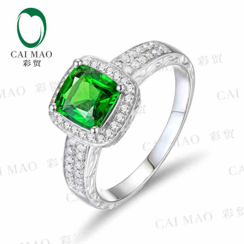 CaiMao 18KT/750 White Gold 1.31 ct Natural Tsavorite  &amp; 0.40 ct Full Cut Diamond Engagement Gemstone Ring Jewelry<br><br>Aliexpress