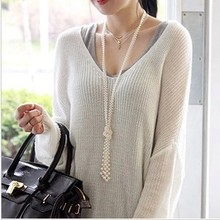 2015 new fashion pearl necklace knotted beads cool fresh style clothing accessories necklace jewelry necklace wholesale X003(China (Mainland))