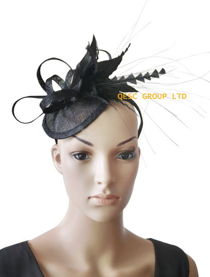 Black sinamay feather fascinator hair accessory for Kentucky derby and wedding .(China (Mainland))