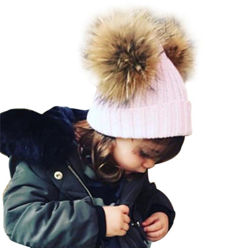 Kids Winter Hat Unisex Boys Girls Beanies Wool Knitted 2016 Fashion Warm Rex Rabbit Fur Pom Pom Hat Children Caps Bonnet Gorros