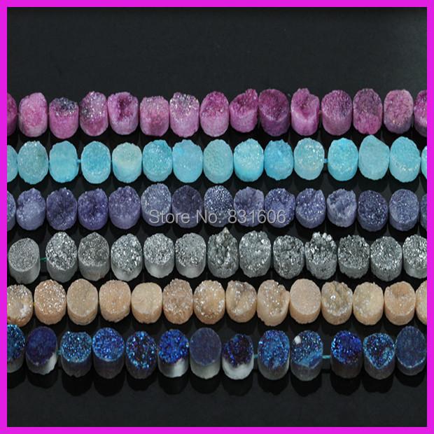 3pcs/lot Natural Mixed Color Quartz Crystal Stone round beads Titanium Plate Druzy Stone Jewelry Accessories Charm Pendant