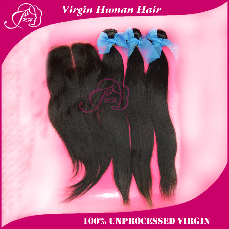 Brazilian virgin hair extensions Straight 3 bundles lace closure 100% unprocessed human weaves DHL - Xin products factory store