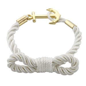 Wholesale Stainless Steel Anchor Cotton Rope Bracelet Fish Hook Men Charm Bracelets Nautical Jewelry Gold(China (Mainland))