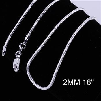 2mm(16inch-24inch) 925 Sterling Silver Snake Chain Lobster Clasp Necklace silve snake Chain Free Shipping(China (Mainland))