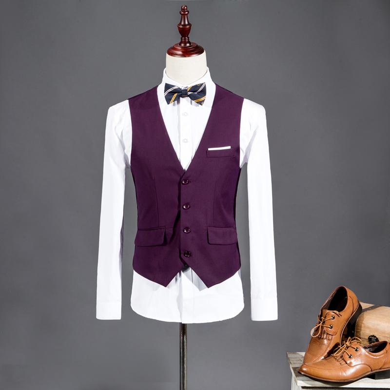 2015 New Men Suit Vest V-neck Slim Fit Fashion Men Vest Casual Solid Color Male Blazer Business Vest 8 Color Size:M-3XL WS847