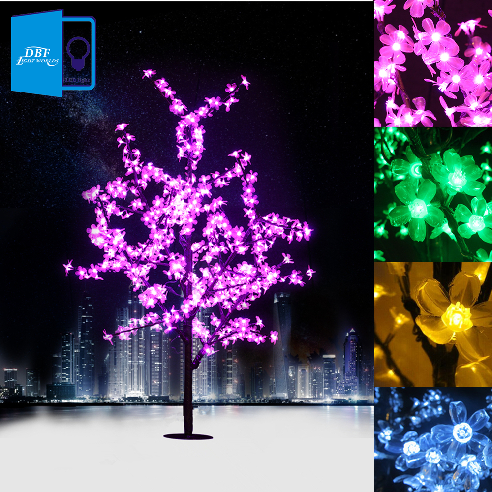 1.5M 1.8M LED Crystal Cherry Blossom Tree Lights Christmas New year Luminaria Decorative Tree Lamp Landscape Outdoor Lighting(China (Mainland))