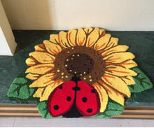 Fashion decoration - 3Dsunflower and ladybugs carpet. Hand embroidery mat. Fashion door mat. The bedroom rug 77cm*65cm(China (Mainland))