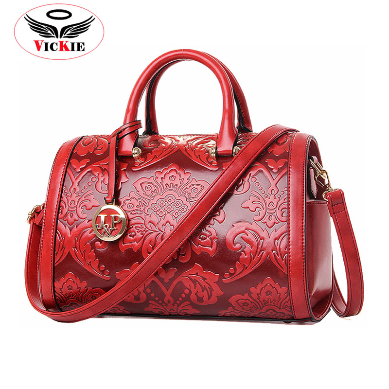 2016 New Leather Women Handbags Boston Bag Vintage Embossed Ladies Totes Brand Shoulder Bags Chinese Style Female Tote Bolsa T83(China (Mainland))