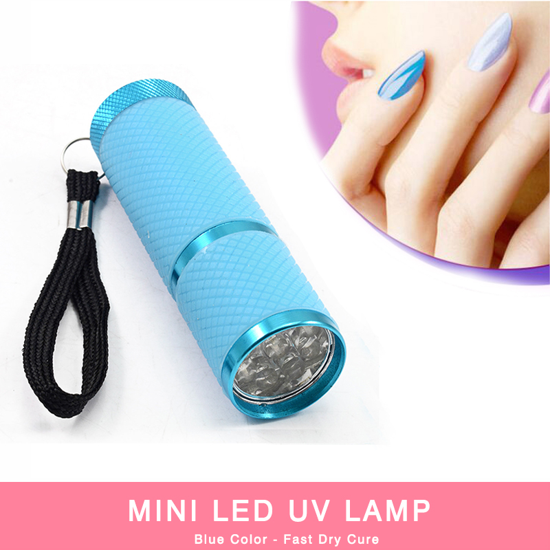 2016 New Blue Color Mini LED UV Lamp Nail Dryer LED Flashlight 1pcs Portable For Nail Gel Fast Dryer Cure Nail Gel Manicure Tool(China (Mainland))