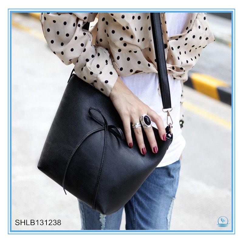 Simple Black Bow Lady Bucket Bag Solid Shoulder Bag --Dropshipping service-skype:hnkfliu(China (Mainland))