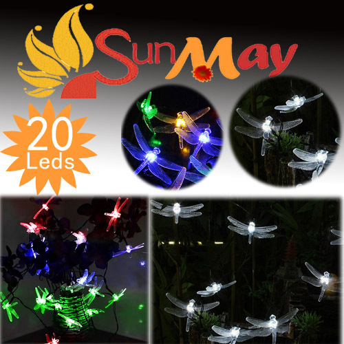 Good Quality,Dragonflies Solar string lights 20 LEDs Mix colour,LED light,Party Decoration Christmas light garden light(China (Mainland))