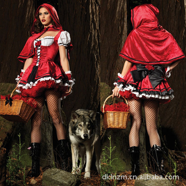 ZO-ON New Sexy Halloween Costumes Women Fancy Cosplay Dresses Little Red Riding Hood Wolf Bait Carnival Costume + Free Shipping(China (Mainland))