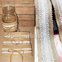 Good quality 10 Meter 100% natural jute burlap ribbon with lace trims tape rustic wedding decoration party cake topper(China (Mainland))