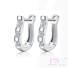 2016 Luxury 925-Sterling-Silver Earrings Flash CZ Diamond Harp Studs Horse Shoe Earrings Women Pendientes Brincos