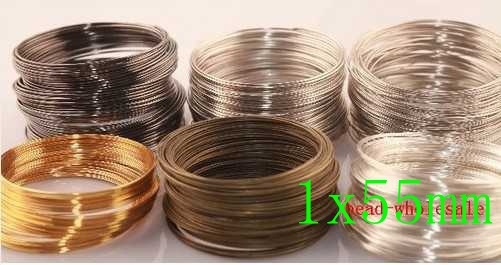 OMH wholesale free ship 200loop 1x55mm Silver/Gold Plated Memory Steel Wire For Cuff Bangle Bracelet(China (Mainland))