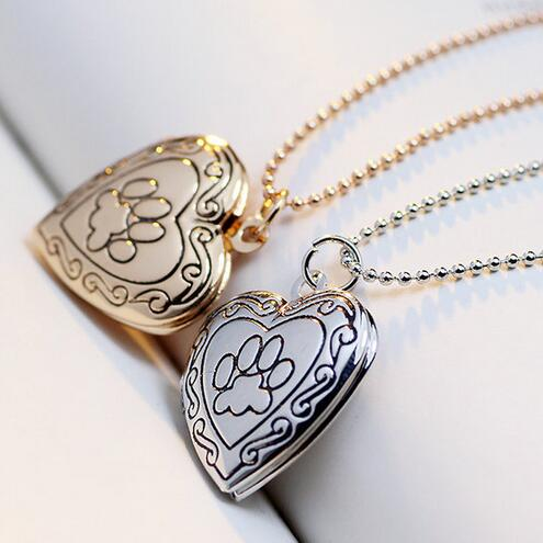 2016 New Arrival Valentines Gift Pet Dog Paw Charm Pendant Box Photo Locket Necklace Heart Shape Jewelry(China (Mainland))
