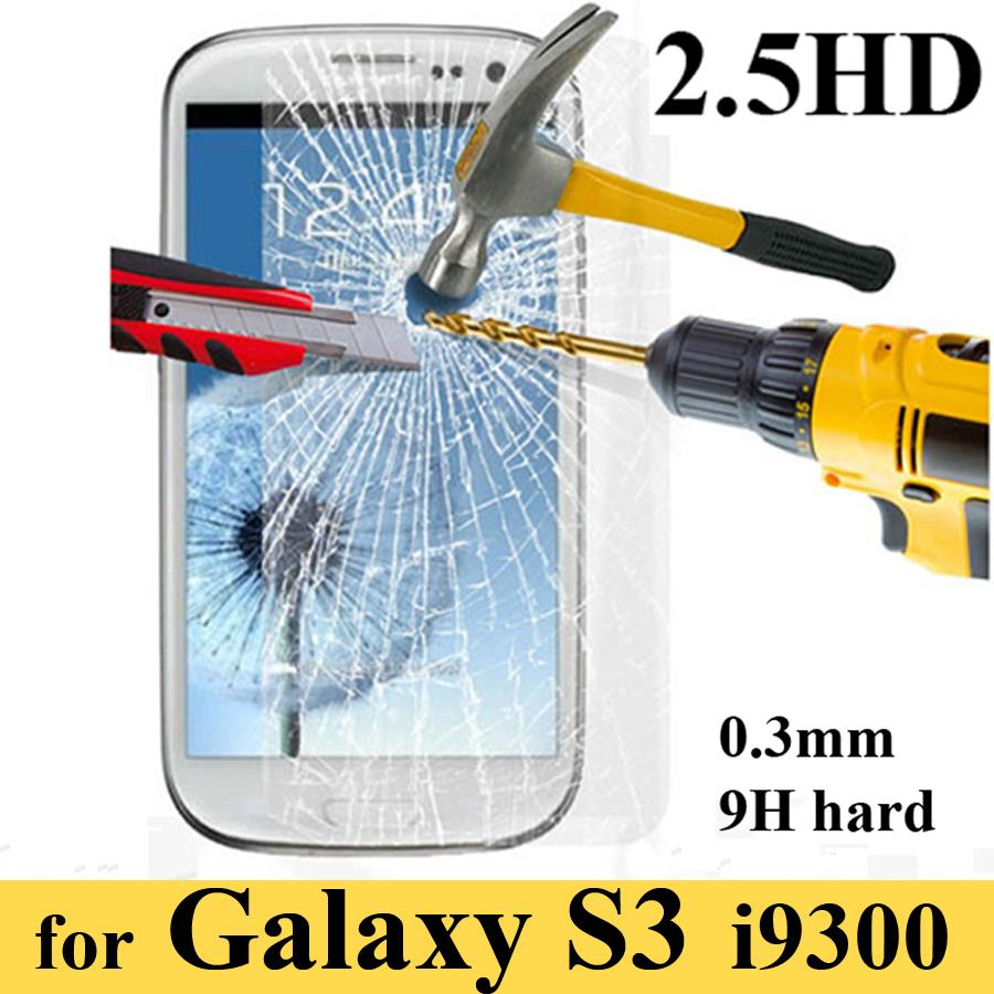 Tempered glass screen protector for Samsung Galaxy S3 SIII I9300 clear screen protective film guard With retail package PY