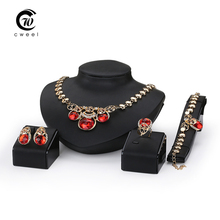Wedding African Beads Jewelry Set Band Gold Plated Fashion Party Bridal Rhinestone Necklace Earring Sets Bangle Ring Accessories(China (Mainland))